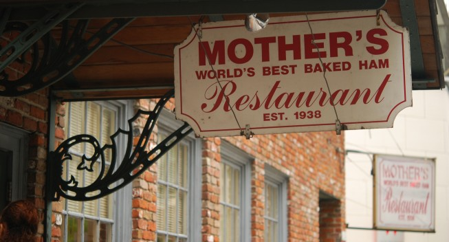 B0P60A Mother's Restaurant sign in New Orleans, Louisiana, post Katrina.