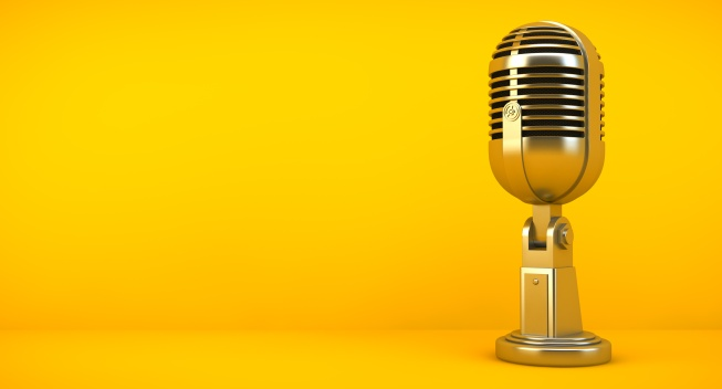 gold microphone on yellow background 3d rendering