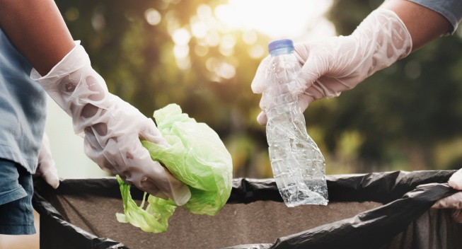 Picking up litter and food waste