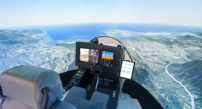 pilot view from inside a helicopter flight simulator