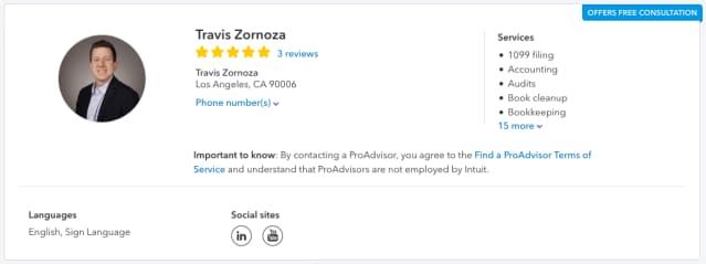 Pro Advisor profile for Travis Zornoza includes his support for English and Sign Language