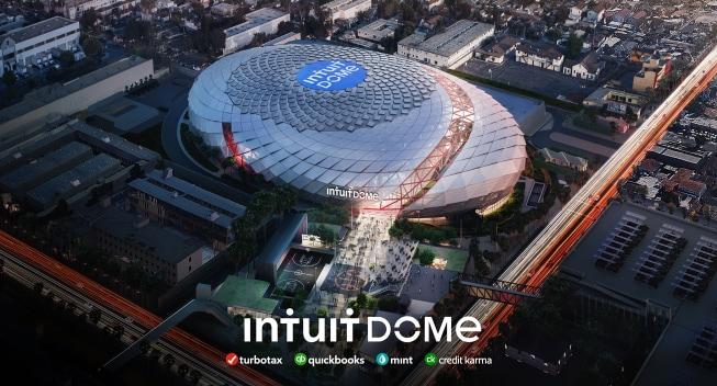 Aerial rendering of Intuit Dome in Inglewood, CA