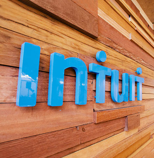 Intuit logo on a wall