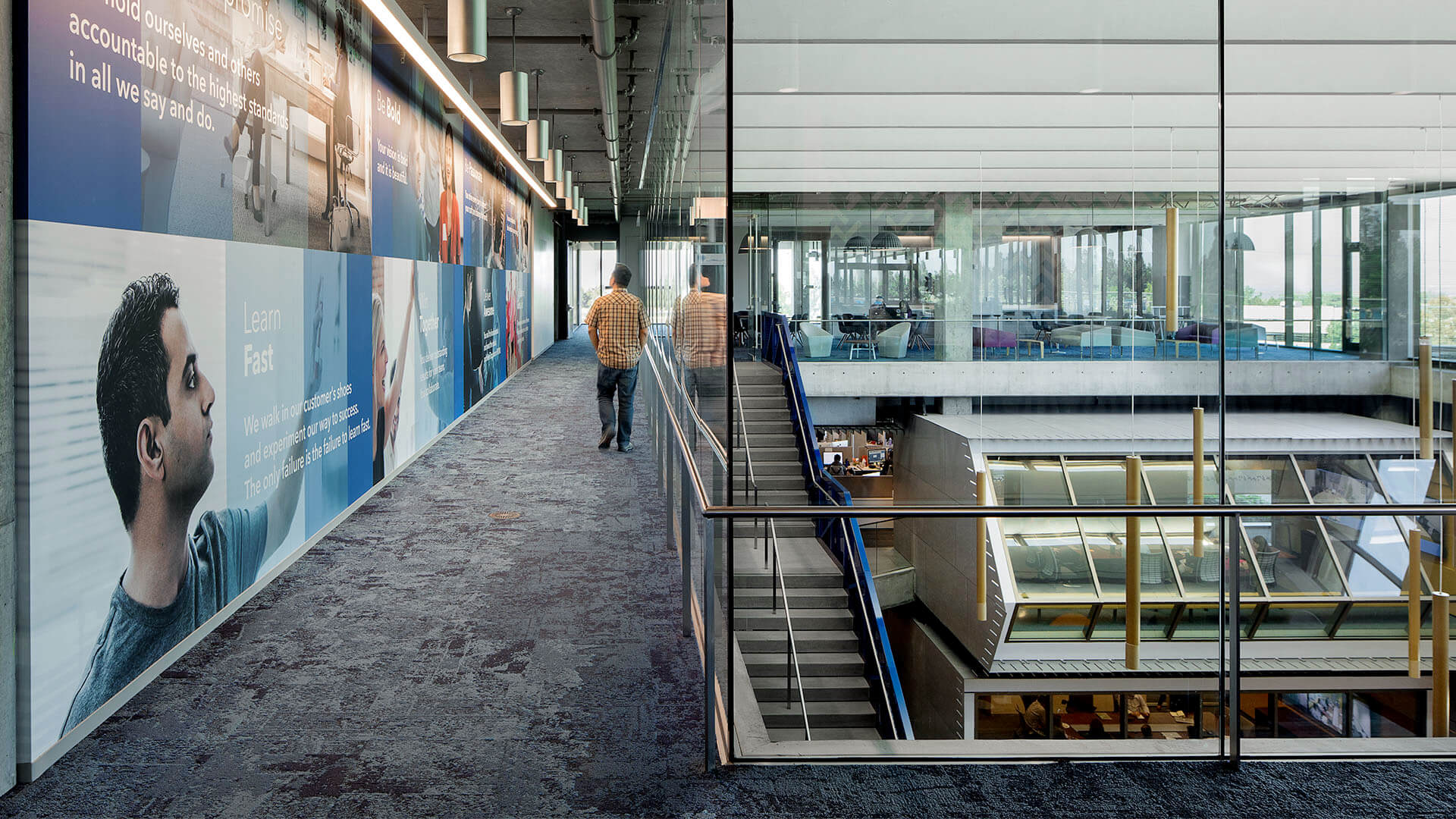 Employee walking through the hallway