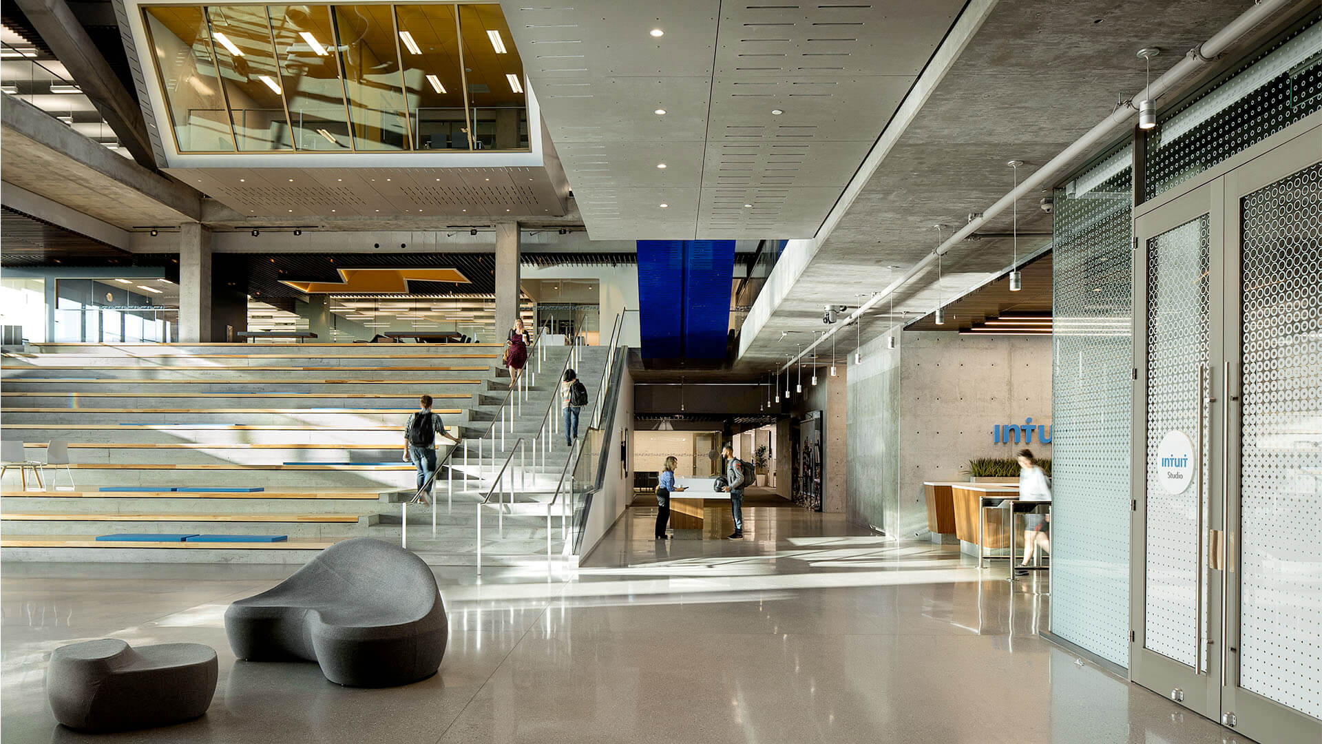 Employees in the lobby