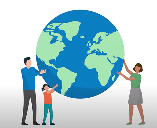 A illustration of a family holding the globe