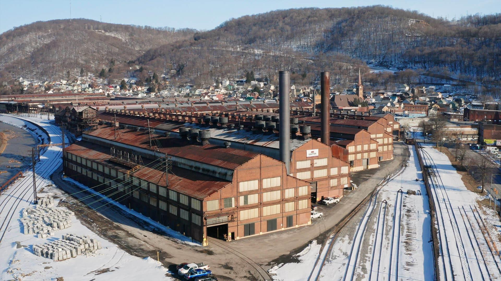 Rows of factory buildings