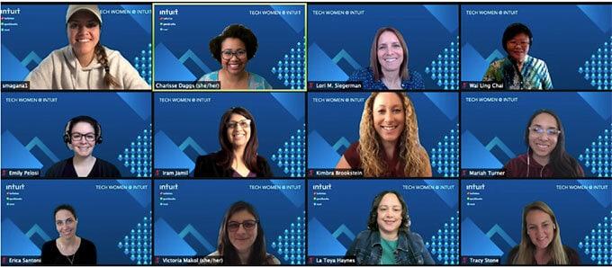 Female employees celebrating women in technology