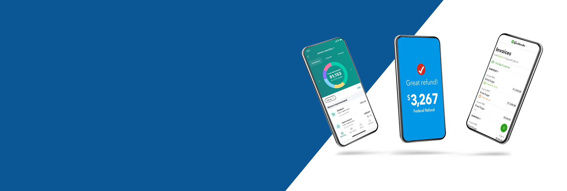3 mobile devices showcasing QuickBooks, TurboTax, and Mint