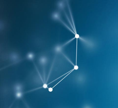 A illustration of white nodes with blue background