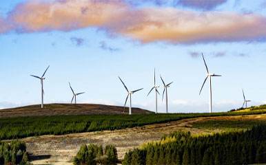 Wind power stations over hills